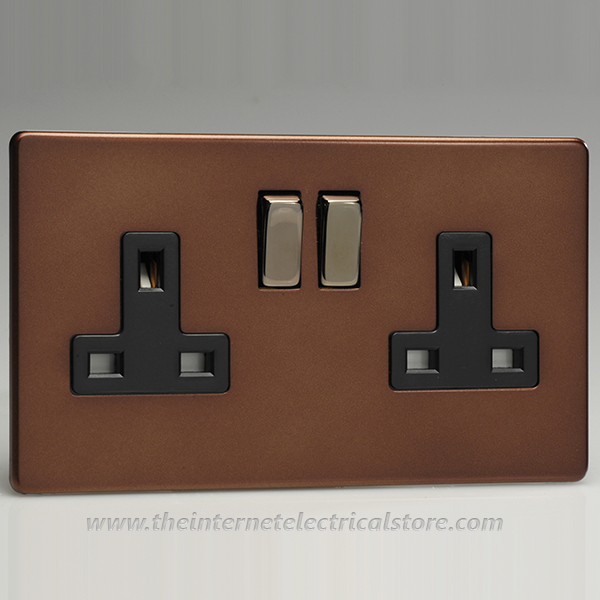 Varilight 2 Gang 13 Amp Switched Electrical Plug Socket Screwless Mocha Dec Switch Black Ins XDM5BS
